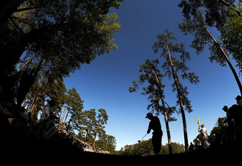AUGUSTA, GA - APRIL 09:  Mike Weir of Canada hits his tee shot on the 14th hole during the second round of the 2010 Masters Tournament at Augusta National Golf Club on April 9, 2010 in Augusta, Georgia.  (Photo by Harry How/Getty Images)