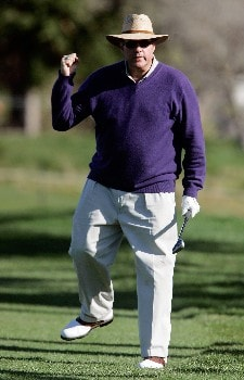PEBBLE BEACH, CA - FEBRUARY 7:  Chris Berman celebrates after hitting his third shot on the third hole during the first round of the AT&T Pebble Beach National Pro-Am at the Pebble Beach Golf Links February 7, 2008 in Pebble Beach, California.  (Photo by Jeff Gross/Getty Images)