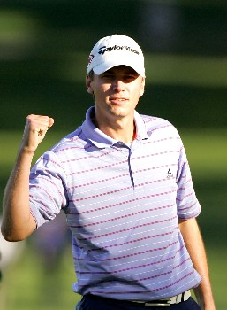 PALM HARBOR, FL - MARCH 09:  Sean O'Hair reacts after winning the PODS Championship at Innisbrook Resort and Golf Club on March 9, 2008 in Palm Harbor, Florida.  (Photo by Sam Greenwood/Getty Images)