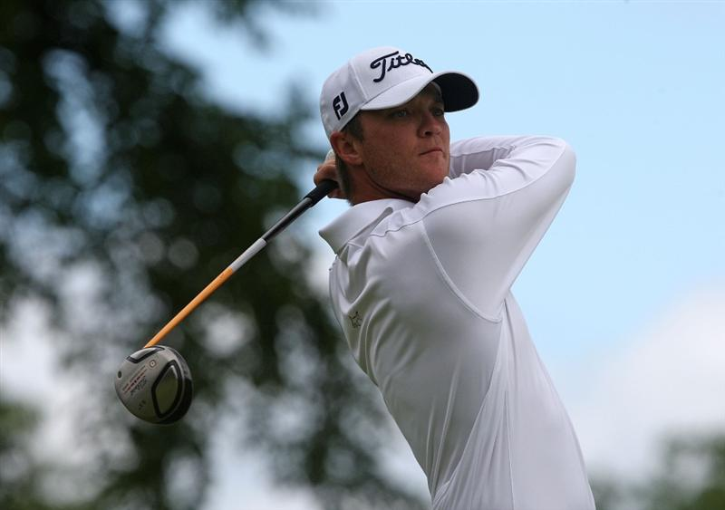 MILWAUKEE - JULY 18: Matt Jones of Australia tees off on the 10th hole during the third round of the U.S. Bank Championship on July 18, 2009 at the Brown Deer Park golf course in Milwaukee, Wisconsin. (Photo by Jonathan Daniel/Getty Images)