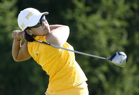SPRINGFIELD, IL - AUGUST 30: Dorothy Delasin hits her tee shot on the 16th hole during the first round of the State Farm Classic at Panther Creek Country Club on August 30, 2007 in Springfield, Illinois. (Photo by Hunter Martin/Getty Images)