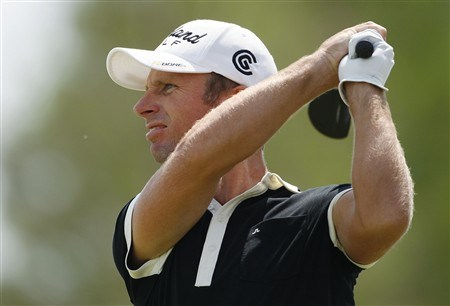 BROUSSARD, LA - MARCH 30:   Richard Johnson watches his drive off the 7th tee during the final round of the 2008 Chitimacha Louisiana Open at the Le Triomphe Country Club on March 30, 2008 in Broussard, Louisiana. (Photo by Dave Martin/Getty Images)