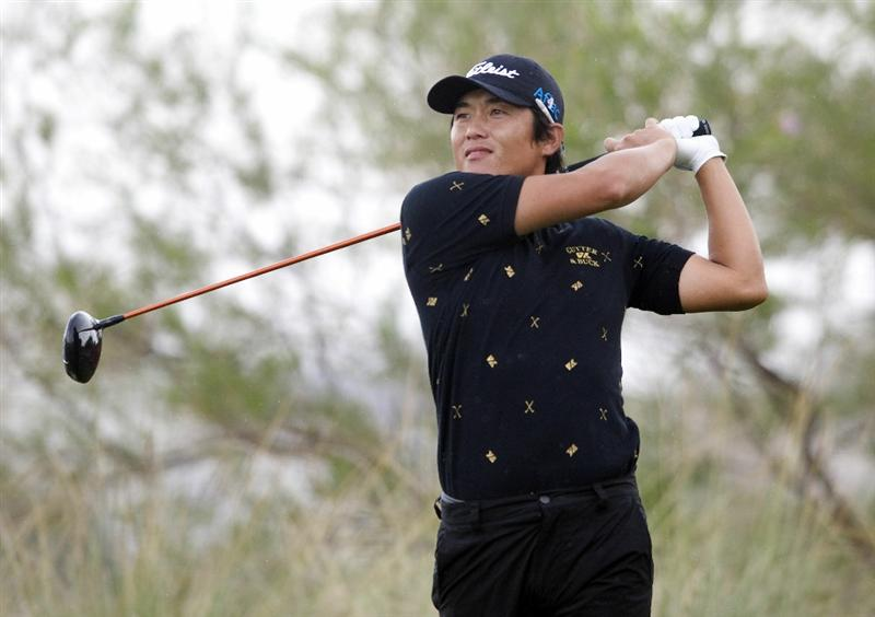 LAS VEGAS, NV - OCTOBER 22: Ryuji Imada tees of on the 18th hole during the second round of the Justin Timberlake Shriners Hospitals for Children Open on October 22, 2010 in Las Vegas, Nevada. (Photo by Steve Dykes/Getty Images)