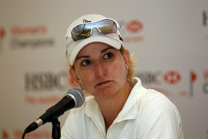 SINGAPORE - FEBRUARY 25:  Karrie Webb of Australia gives a press conference during the second round of the HSBC Women's Champions at Tanah Merah Country Club  on February 25, 2011 in Singapore, Singapore.  (Photo by Ross Kinnaird/Getty Images)