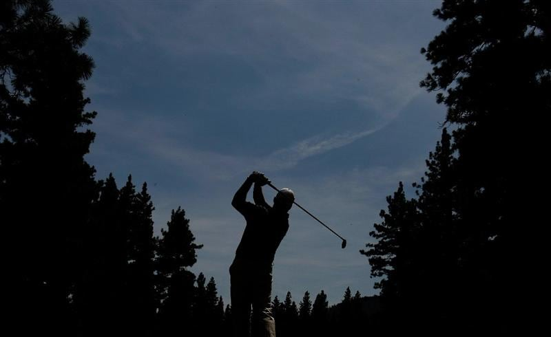 RENO, NV - AUGUST 09:  John Rollins tees off on the fourth hole during the final round of the Legends Reno-Tahoe Open on August 9, 2009 at Montreux Golf and Country Club in Reno, Nevada.  (Photo by Jonathan Ferrey/Getty Images)