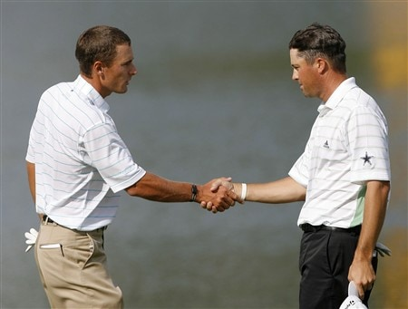DULUTH, GA - MAY 17:  Charles Howell III (L) and Ryan Palmer shake hands on the 18th green after the third round of the AT&T Classic at TPC Sugarloaf May 17, 2008 in Duluth, Georgia.  (Photo by Matt Sullivan/Getty Images)