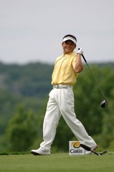 Shigeki Maruyama  checks his drive from the 15th tee   during the second  round of the Cialis Western Open July 1, 2005 in Lemont, Illinois.Photo by Al Messerschmidt/WireImage.com