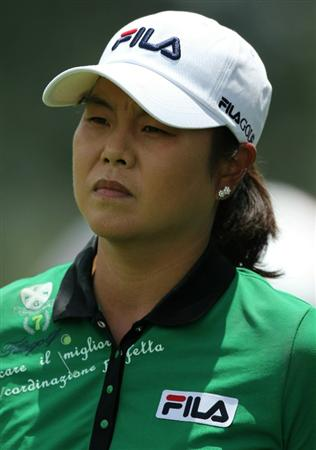 KUALA LUMPUR, MALAYSIA - OCTOBER 23 : Hee-Won Han of Korea Republic in deep thoughts on the 10th hole during Round Two of the Sime Darby LPGA on October 23, 2010 at the Kuala Lumpur Golf and Country Club in Kuala Lumpur, Malaysia. (Photo by Stanley Chou/Getty Images)