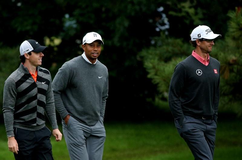 Rory McIlroy, Tiger Woods and Adam Scott
