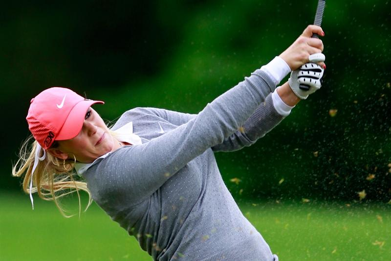 GLADSTONE, NJ - MAY 19: Amanda Blumenherst hits her third shot to the second hole during round one of the Sybase Match Play Championship at Hamilton Farm Golf Club on May 19, 2011 in Gladstone, New Jersey.  (Photo by Chris Trotman/Getty Images)