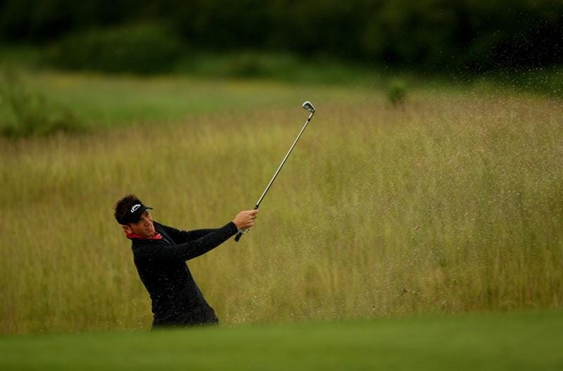 NEWPORT, WALES - JUNE 07:  Nick Dougherty of England plays from a bunker on the 1st during the final round of the Celtic Manor Wales Open on the 2010 Course at The Celtic Manor Resort on June 7, 2009 in Newport, Wales.  (Photo by Richard Heathcote/Getty Images)