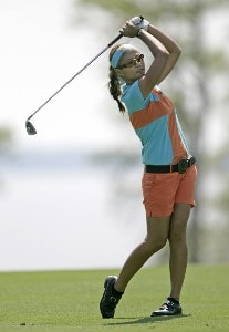 Jennifer Rosales follows her shot during the third round of The Michelob Ultra Open at Kingsmill Resort & Spa, Williamsburg, Virginia., May 13, 2006.Photo by Hunter Martin/WireImage.com
