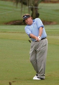 Tim Herron  chips into the 14th green during the third  round of  the 2005 Funai Classic at World Disney World Resort October 22.Photo by Al Messerschmidt/WireImage.com
