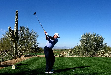MARANA, AZ - FEBRUARY 21:  Sergio Garcia of Spain hits his tee shot on the fifth hole during the second round matches of the WGC-Accenture Match Play Championship at The Gallery at Dove Mountain on February 21, 2008 in Marana, Arizona.  (Photo by Travis Lindquist/Getty Images)