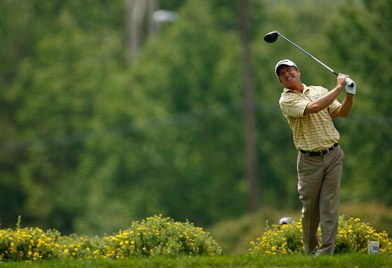 ENDICOTT, NY - JUNE 28:  Fred Funk hits his tee shot on the 9th hole during the final round of The Dick's Sporting Goods Open at En-Joie Golf Club on Sunday, June 28, 2009 in Endicott, New York  (Photo by Mike Ehrmann/Getty Images)