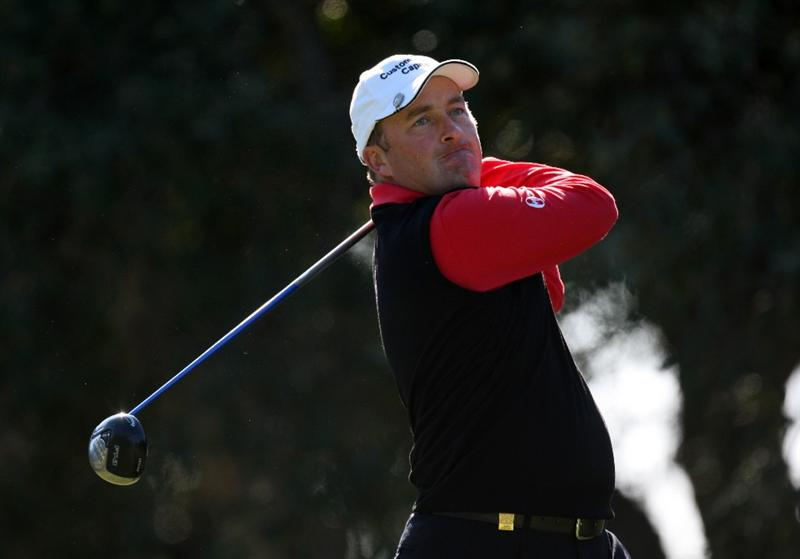 SOTOGRANDE, SPAIN - OCTOBER 30:  Damien McGrane of Ireland on the 2nd tee during the first round of the Volvo Masters at the Valderrama Golf Club on October 30, 2008 in Sotogrande, Spain.  (Photo by Ross Kinnaird/Getty Images)