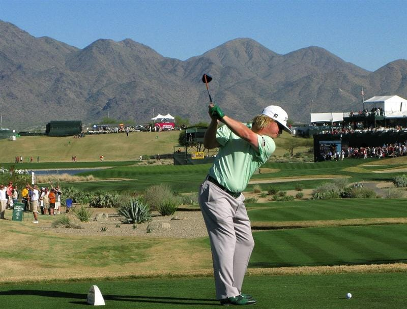 SCOTTSDALE, AZ - FEBRUARY 1:  Charley Hoffman hits his tee shot on the 17th hole during the final round of the FBR Open on February 1, 2009 at TPC Scottsdale in Scottsdale, Arizona.  (Photo by Stephen Dunn/Getty Images)