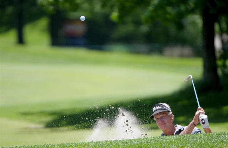 WEST DES MOINES IA. - MAY 29: Bruce Fleisher blasts out of the greenside bunker on the 18th hole  during the first round of The Principal Charity Classic held at the Glen Oaks Country Club on May 29, 2009 in West Des Moines, Iowa (Photo by Marc Feldman/Getty Images)