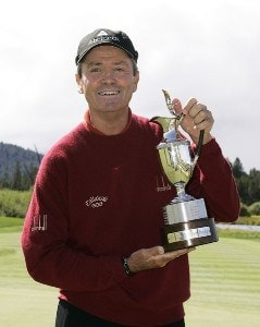 Mark McNulty was presented the winners trophy after the fourth and final round of the 2007 JELD-WEN Tradition on the Crosswater Course at Crosswater Club at Sunriver on  August 19, 2007 in Sunriver, Oregon. Champions Tour - 2007 JELD-WEN Tradition - Final RoundPhoto by Stan Badz/PGA TOUR/WireImage.com