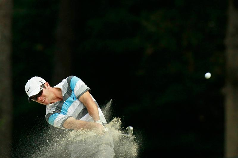 ATLANTA - SEPTEMBER 24:  Paul Casey of England chips out of the sand on the 16th hole during the second round of THE TOUR Championship presented by Coca-Cola at East Lake Golf Club on September 24, 2010 in Atlanta, Georgia.  (Photo by Kevin C. Cox/Getty Images)