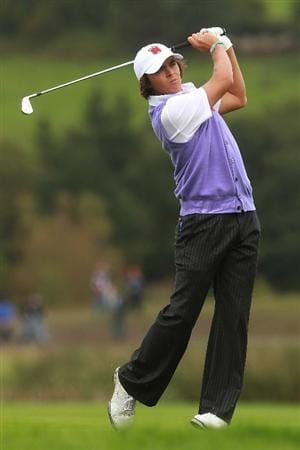 NEWPORT, WALES - OCTOBER 02:  Rickie Fowler of the USA hits an approach shot during the rescheduled Afternoon Foursome Matches during the 2010 Ryder Cup at the Celtic Manor Resort on October 2, 2010 in Newport, Wales.  (Photo by Andrew Redington/Getty Images)