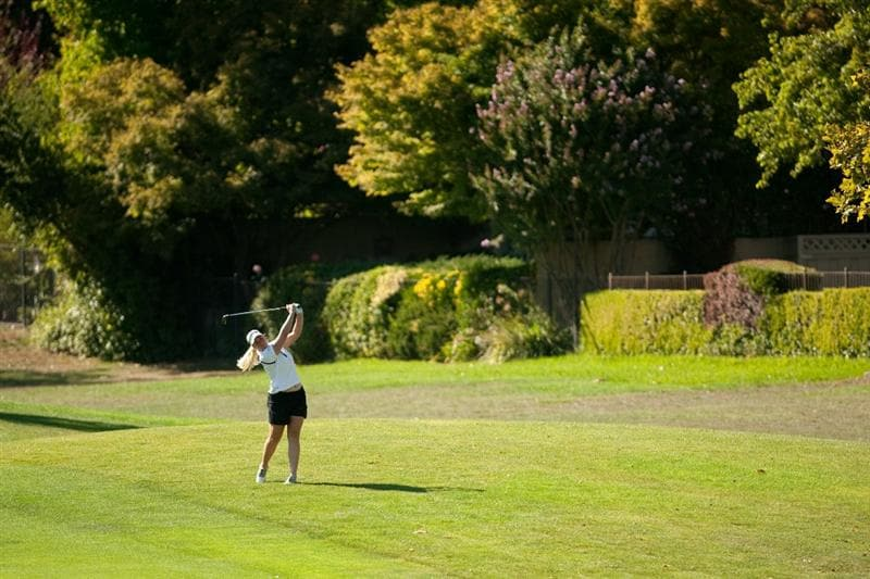 DANVILLE, CA - OCTOBER 15: Brittany Lincicome follows through on an approach shot during the second round of the CVS/Pharmacy LPGA Challenge at Blackhawk Country Club on October 15, 2010 in Danville, California. (Photo by Darren Carroll/Getty Images)