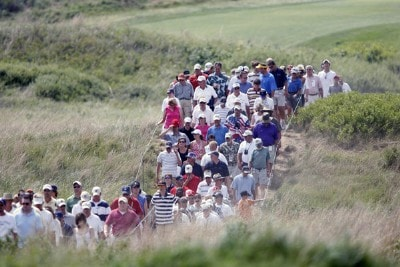 The gallary follows the leading group, Tom Watson and Mark James during the third round of the U.S. Senior Open at Prairie Dunes Country Club in Hutchinson,  Kansas on July 8, 2006.Photo by G. Newman Lowrance/WireImage.com