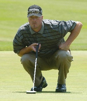 Brett Wetterich misses his birdie putt on the 17th hole which would have given him the outright lead during the second round of EDS Byron Nelson Championship on Friday May 13, 2005 at the Cottonwood Vally Course, Los Colinas, TexasPhoto by Marc Feldman/WireImage.com