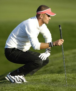 Jesper Parnevik lines up a birdie putt on the 18th green during the final round of the Bob Hope Chrysler Classic at The Classic Club   on Sunday, January 22, 2006 in Palm Desert, CaliforniaPhoto by Marc Feldman/WireImage.com