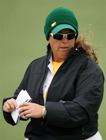 AUGUSTA, GA - APRIL 07:  Caddie Fanny Sunesson looks over a green during a practice round prior to the 2009 Masters Tournament at Augusta National Golf Club on April 7, 2009 in Augusta, Georgia.  (Photo by Andrew Redington/Getty Images)