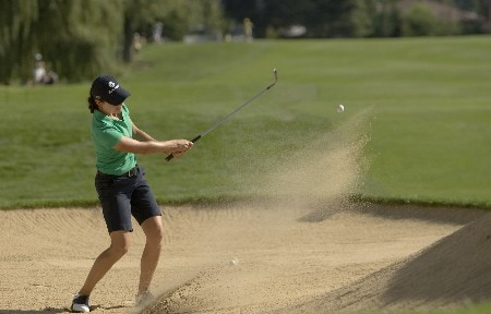PORTLAND, OR - AUGUST 23: Lorena Ochoa of Mexico hits her third shot from a greenside bunker at the par-5 seventh hole, during the second round of the LPGA Safeway Classic at the Columbia Edgewater Country Club on August 23, 2008 in Portland, Oregon. (Photo by Steven Gibbons/Getty Images)