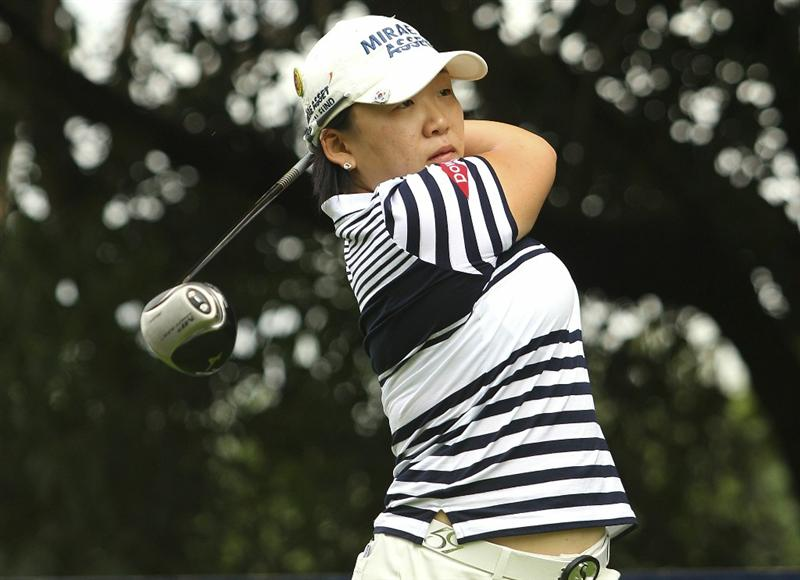 MELBOURNE, AUSTRALIA - FEBRUARY 05:  Jiyai Shin of South Korea plays a shot during day three of the Women's Australian Open at The Commonwealth Golf Club on February 5, 2011 in Melbourne, Australia.  (Photo by Lucas Dawson/Getty Images)