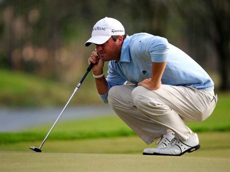 PALM COAST, FL - OCTOBER 31:  Ryan Palmer looks over a putt on the 14th hole during the second round of the Ginn sur Mer Classic at the Conservatory Golf Club on October 31, 2008 in Palm Coast, Florida.  (Photo by Sam Greenwood/Getty Images)