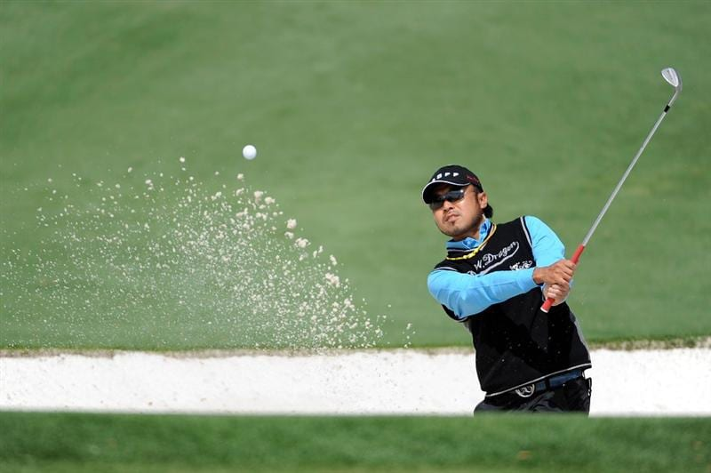 AUGUSTA, GA - APRIL 06:  Shingo Katayama of Japan plays a bunker shot during a practice round prior to the 2009 Masters Tournament at Augusta National Golf Club on April 6, 2009 in Augusta, Georgia.  (Photo by Harry How/Getty Images)