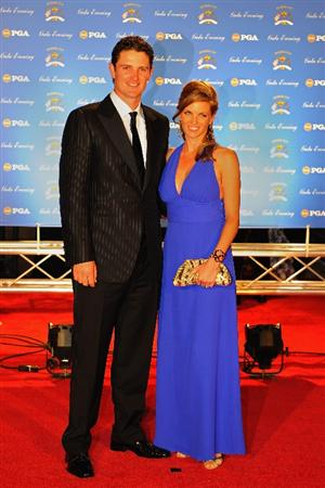 LOUISVILLE, KY - SEPTEMBER 17:  Justin Rose of England and the European Ryder Cup team poses with his wife Kate on the red carpet before the Ryder Cup Gala dinner prior to the start of the 2008 Ryder Cup September 17, 2008 in Louisville, Kentucky.  (Photo by Sam Greenwood/Getty Images)