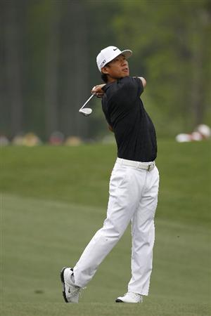 HUMBLE, TX - APRIL 03:  Anthony Kim hits his second shot on the sixth hole during the final round of the Shell Houston Open at Redstone Golf Club on April 3, 2011 in Humble, Texas.  (Photo by Michael Cohen/Getty Images)