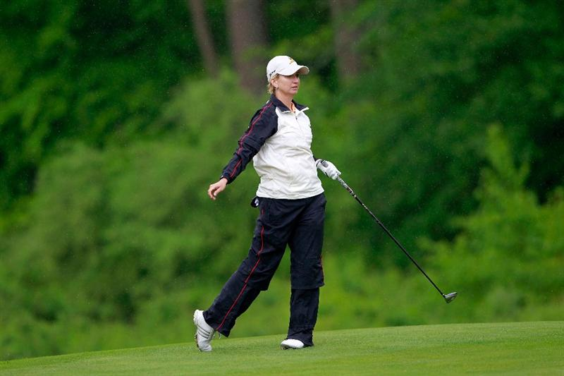 GLADSTONE, NJ - MAY 20: Karrie Webb of Australia hits her second shot to the second hole during round two of the Sybase Match Play Championship at Hamilton Farm Golf Club on May 20, 2011 in Gladstone, New Jersey.  (Photo by Chris Trotman/Getty Images)