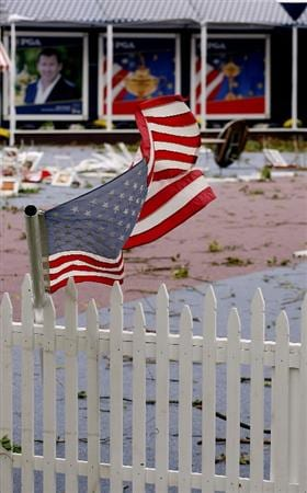 LOUISVILLE, KY - SEPTEMBER 14:   An American flag blows in high winds on the course prior to the 37th Ryder Cup at Valhalla Golf Club on September 14, 2008 in Louisville, Kentucky.  (Photo by Andy Lyons/Getty Images)