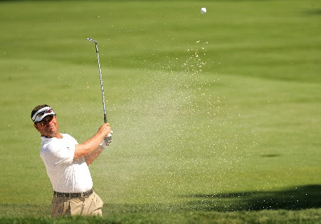 PARAMUS, NJ - AUGUST 21:  Jay Williamson plays a shot from the bunker on the 12th hole during the first round of The Barclays at Ridgewood Country Club on August 21, 2008 in Paramus New Jersey.  (Photo by Sam Greenwood/Getty Images)