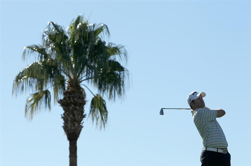 LA QUINTA, CA - JANUARY 25:  Alex Prugh hits a tee shot on the third hole during the final round of the Bob Hope Classic at the Palmer Private Course at PGA West on January 25, 2010 in La Quinta, California.  (Photo by Jeff Gross/Getty Images)