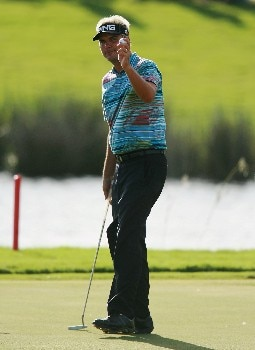 PORT SAINT LUCIE, FL - OCTOBER 28:  Daniel Chopra of Sweden acknowledges the applause after a birdie on the ninth hole during the final round of the Ginn Sur Mer Classic at Tesoro Resort October 28, 2007 in Port Saint Lucie, Florida.  (Photo by Doug Benc/Getty Images)
