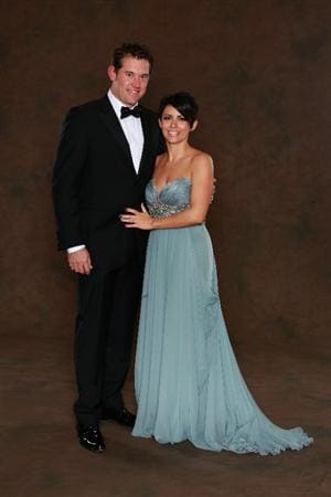 NEWPORT, WALES - SEPTEMBER 29:  Lee Westwood of the European Ryder Cup team poses with his wife Laurae prior to the 2010 Ryder Cup Dinner at the Celtic Manor Resort on September 29, 2010 in Newport, Wales.  (Photo by David Cannon/Getty Images)