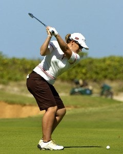 Karen Stupples tees off on the seventh hole  in the first round  at the 2006 SBS Open at Turtle Bay in Kahuku, Hawaii on February 16, 2006Photo by Al Messerschmidt/WireImage.com