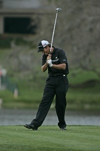 Greg Owen reacts to a poor drive on the 16th hole in action during the fourth round of the Bay Hill Invitational presented by MasterCard at the Bay Hill Club in Orlando, Florida on March 19, 2006.Photo by Michael Cohen/WireImage.com