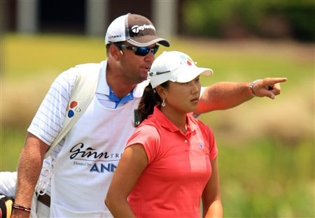 MT. PLEASANT, SC - JUNE 1:  Seon Hwa Lee of South Korea (R) chats with her caddie John Wilkes on the 18th hole during the final round of the Ginn Tribute at RiverTowne Country Club June 1, 2008 in Mt. Pleasant, South Carolina.  (Photo by Scott Halleran/Getty Images)