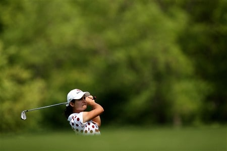 CLIFTON, NJ - MAY 17:  Lorena Ochoa of Mexico watches her second shot on the 13th hole during the second round of the Sybase Classic presented by ShopRite at the Upper Montclair Country Club May 17, 2008 in Clifton, New Jersey.  (Photo by Travis Lindquist/Getty Images)
