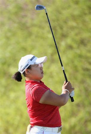 PHOENIX - MARCH 27:  Jiyai Shin of South Korea hits her second shot on the ninth hole during the second round of the J Golf Phoenix LPGA International golf tournament at Papago Golf Course on March 27, 2009 in Phoenix, Arizona.  (Photo by Christian Petersen/Getty Images)
