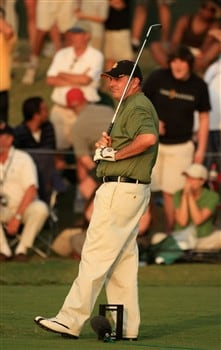 PONTE VEDRA BEACH, FL - MAY 11:  Paul Goydos watches his ball go into the water at the first play-off hole during the final round of THE PLAYERS Championship on THE PLAYERS Stadium Course at TPC Sawgrass on May 11, 2008 in Ponte Vedra Beach, Florida.  (Photo by Richard Heathcote/Getty Images)