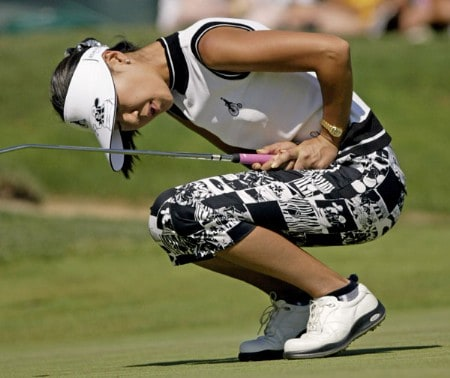 Tournament champion Soo-Yun Kang runs her put for birdie past the hole on 18. Kang won her first LPGA event at 15 under par. Shooting a 64, 68, 69 at the 2005 Safeway Classic held at Columbia Edgewater Country Club, Sunday,  August 21, 2005.Photo by Allan Campbell/WireImage.com