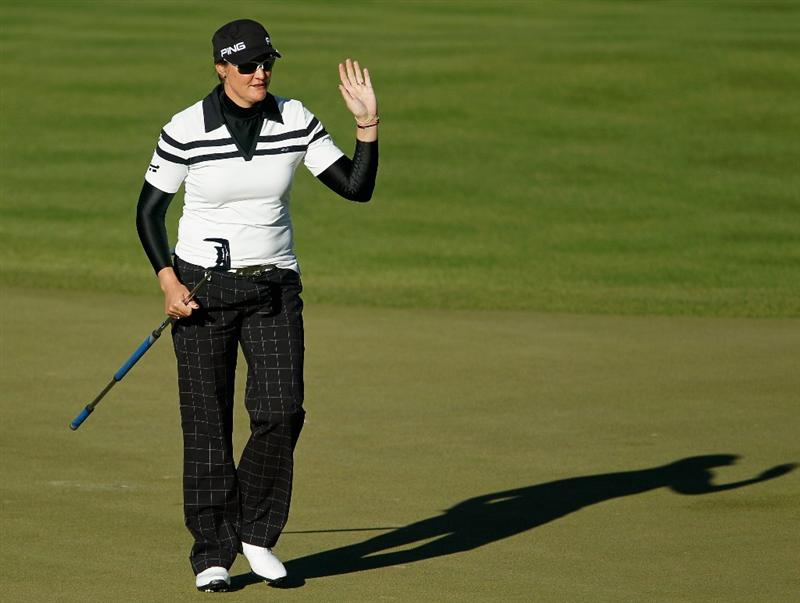 ORLANDO, FL - DECEMBER 04:  Maria Hjorth of Sweden waves to the gallery on the 11th green  during the third round of the LPGA Tour Championship at the Grand Cypress Resort on December 4, 2010 in Orlando, Florida.  (Photo by Scott Halleran/Getty Images)